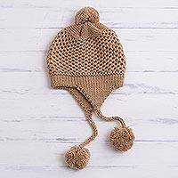 Hand-crocheted alpaca blend hat, 'Sweet Whimsy in Caramel' - Hand-Crocheted Caramel Alpaca Blend Chullo Hat from Peru