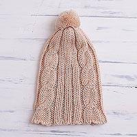 Hand-crocheted alpaca blend hat, 'Warm Braid' - Braid Motif Alpaca Blend Hat in Apricot from Peru