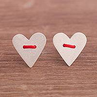 Silver button earrings, 'Love Line' - Handcrafted Silver Hearts with Red Accent Button Earrings