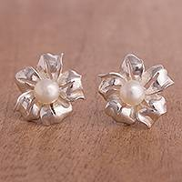 Cultured pearl button earrings, 'Shining Flower' - Handcrafted Cultured Pearl and Silver Flower Button Earrings