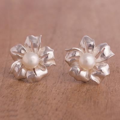 Novica Cultured pearl flower earrings, Unique
