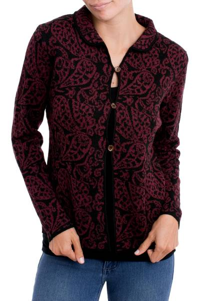 Alpaca blend cardigan, 'Paisley Elegance in Burgundy' - Alpaca Blend Cardigan with Burgundy Paisley Motifs from Peru