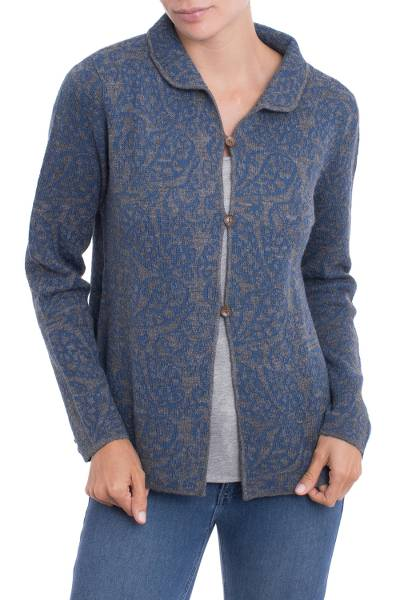 Alpaca blend cardigan, 'Paisley Elegance in Azure' - Alpaca Blend Cardigan with Azure Paisley Motifs from Peru