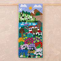 Cotton blend applique wall hanging, 'Flowers in the Valley' - Cotton Blend Flower-Filled Valley Applique Wall Hanging