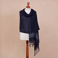 100% baby alpaca shawl, 'Navy Trance' - Handwoven 100% Baby Alpaca Shawl in Navy from Peru
