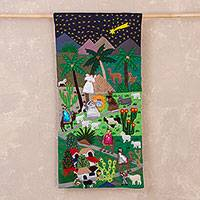 Cotton blend applique wall hanging, 'Beautiful Night Nativity' - Peruvian Cotton Blend Nativity Scene Applique Wall Hanging