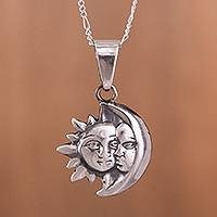 Silver pendant necklace, 'Temple of Sun and Moon' - Sun and Moon Silver Pendant Necklace from Peru