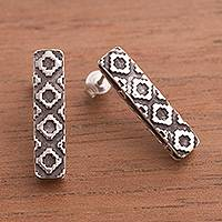 Silver drop earrings, 'Chakana Style' - Chakana Cross Silver Drop Earrings from Peru
