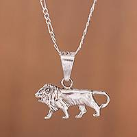 Silver pendant necklace, 'The Lion King' - Silver Lion Pendant Necklace Crafted in Peru