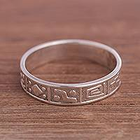 Silver band ring, 'Time of the Inca' - Inca-Themed Silver Band Ring from Peru