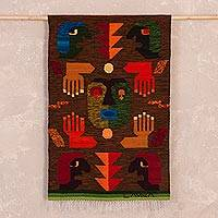Wool tapestry, 'Hands of the Spirit' - Hand Woven Wool Tapestry from Peru