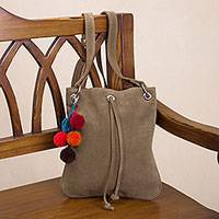 Suede sling, 'Urban Traveler in Olive' - Olive Brown Suede Sling Shoulder Bag with Colorful Pompoms