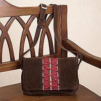 Alpaca accent suede sling, 'Laced Up in Red' - Dark Brown Suede Sling with Woven Fabric Accent