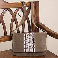 Alpaca accent suede sling, 'Laced Up in Neutral' - Olive Brown Suede Sling with Woven Fabric Accent