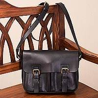 Leather laptop bag, 'Professor' - Black Leather Laptop Compatible Over the Shoulder Bag