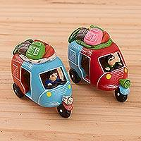 Ceramic figurines, 'Mini Mototaxis in Blue' (pair) - Handcrafted Blue and Red Mototaxi Ceramic Figurines (Pair)