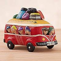 Ceramic figurine, 'Fun Bus in Red' - Handcrafted Red Crowded Minibus Ceramic Figurine from Peru
