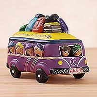 Ceramic figurine, 'Fun Bus in Purple' - Handcrafted Purple Crowded Bus Ceramic Figurine from Peru