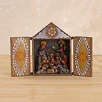 Wood and ceramic retablo, 'Celebrated Nativity' - Wood and Ceramic Nativity Scene Retablo with Floral Motif
