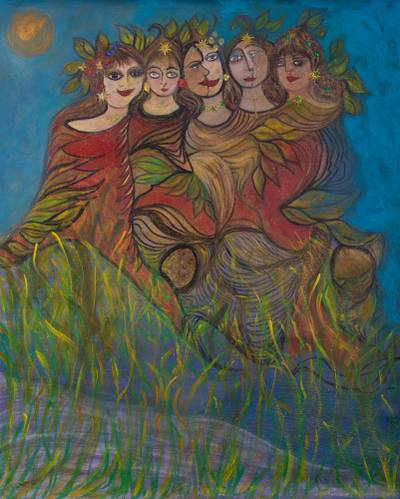 'Mixed Feelings in Blue' (2010) - Signed Painting of Mermaids in Blue (2010) from Peru