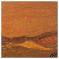 'Lomas de Lachay' - Signed Impressionist Sunset Painting from Peru