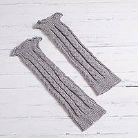 100% alpaca leg warmers, 'Cozy Cables in Grey' - Grey 100% Alpaca Knit Cabled Leg Warmers from Peru