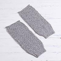 100% alpaca leg warmers, 'Grey Coast' - Grey 100% Alpaca Knit Fan Pattern Leg Warmers from Peru