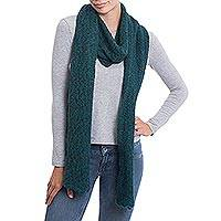 Alpaca blend scarf, 'Forest Canopy' - Teal and Multi-Color Alpaca Blend Knit Scarf from Peru