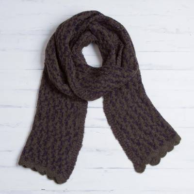 Alpaca blend scarf, 'Mountain Laurel' - Olive Green and Indigo Alpaca Blend Knit Scarf from Peru