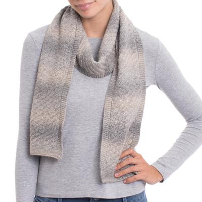 Ivory Grey Diagonal Stitch Pattern Alpaca Blend Knit Scarf