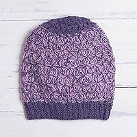 100% baby alpaca hat, 'Violet Delight' - Hand Knit Pink and Purple 100% Baby Alpaca Hat from Peru