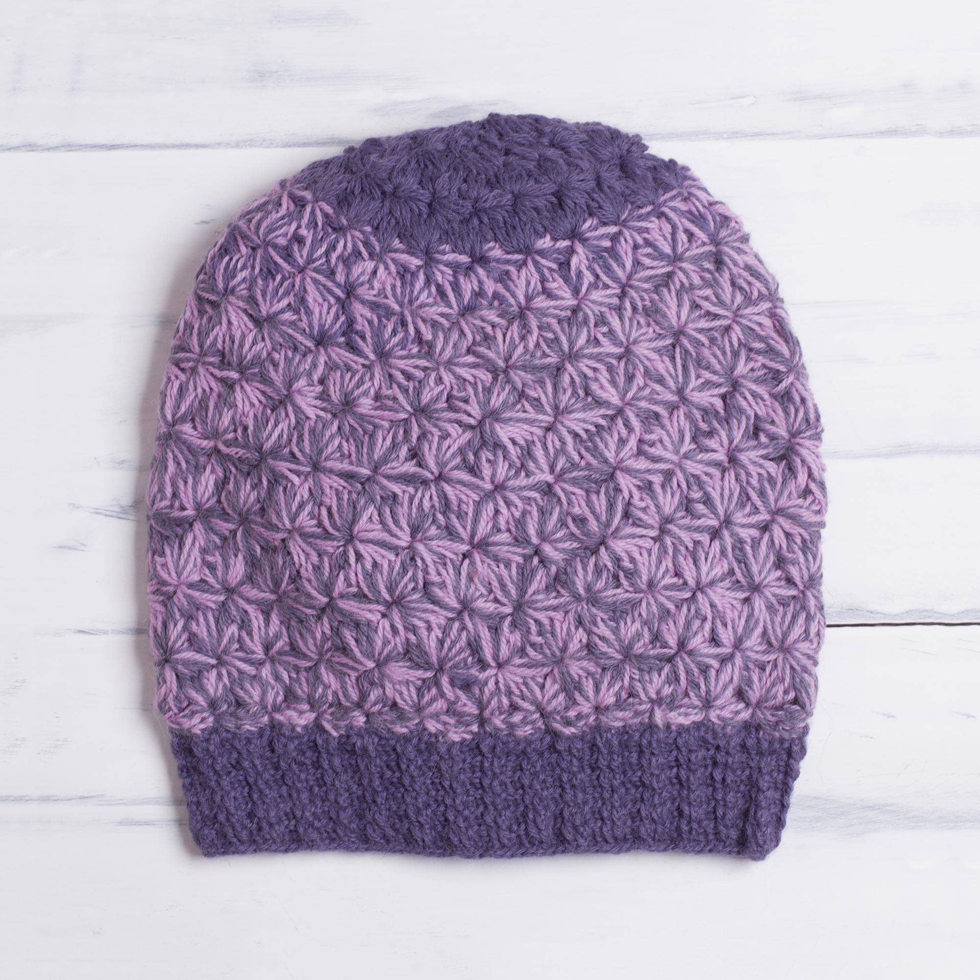 76cb0514 Hand Knit Pink and Purple 100% Baby Alpaca Hat from Peru,
