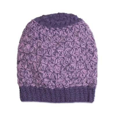 Hand Knit Pink and Purple 100% Baby Alpaca Hat from Peru