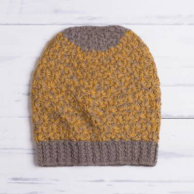 d97cf0b8 Hand Knit Yellow and Brown Baby Alpaca Hat from Peru - Amber Delight ...