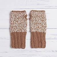 100% baby alpaca gloves, 'Inner Warmth in Golden Brown' - Hand Knit Brown and White Baby Alpaca Fingerless Gloves