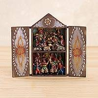 Wood and ceramic retablo, 'Scissor Dancers' - Wood and Ceramic Nativity Scene and Scissor Dancers Retablo