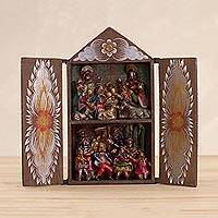 Wood and ceramic retablo, 'Andean Festive Nativity' - Wood and Ceramic Nativity Scene and Andean Dancers Retablo
