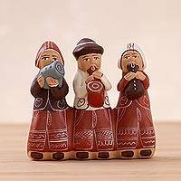 Ceramic figurine, 'Andean Music Trio' - Handcrafted Andean Music Trio Ceramic Figurine from Peru