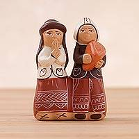 Ceramic figurine, 'Andean Friends' - Handcrafted Laughing Andean Friends Ceramic Figurine