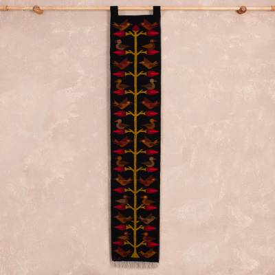 Wool tapestry, 'Birds of the Valley' - Hand Woven Wool Tapestry with Bird Motif