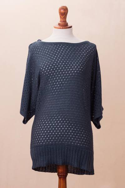 Cotton blend pullover, Open Elegance in Azure