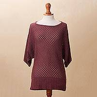 Cotton blend pullover, 'Open Elegance in Wine' - Knit Cotton Blend Pullover in Wine from Peru
