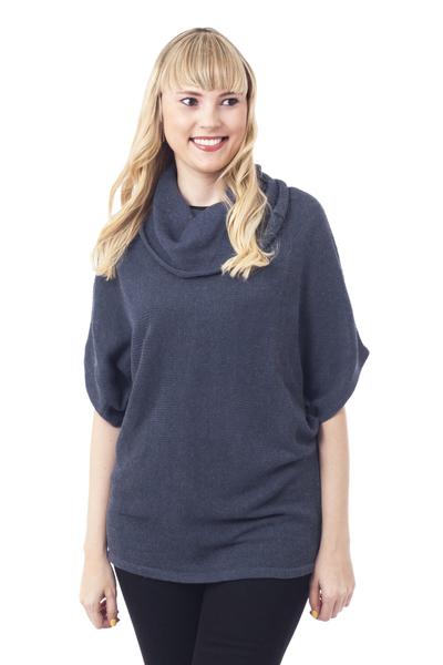Cotton blend sweater, 'Azure Flow' - Turtle Neck Cotton Blend Sweater in Azure from Peru