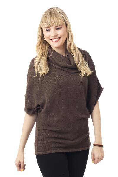 Cotton blend sweater, 'Mahogany Flow' - Cotton Blend Sweater in Mahogany from Peru