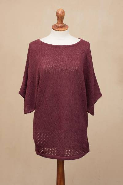 Cotton blend pullover, 'Wine Zigzag' - Zigzag Patterned Cotton Blend Pullover in Wine from Peru