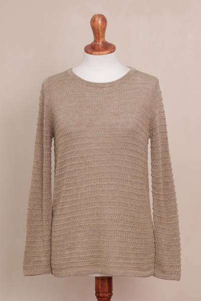 Cotton blend sweater, 'Taupe Lines' - Cotton Blend Sweater in Taupe with Line Patterns from Peru