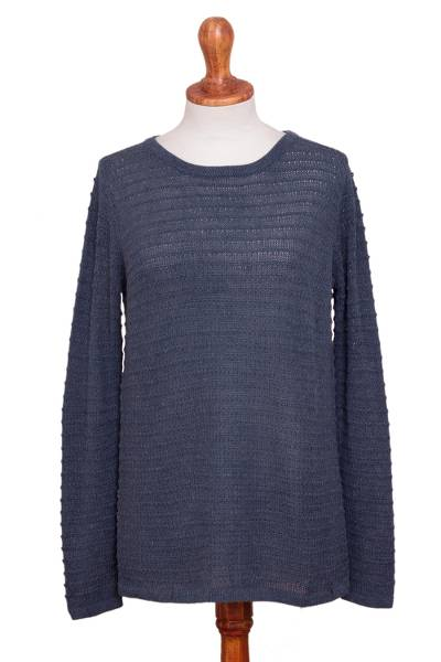 Cotton blend sweater, 'Azure Lines' - Cotton Blend Sweater in Azure with Line Patterns from Peru