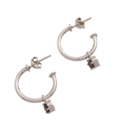 Sterling silver dangle earrings, 'Royal Hoops in Black' - Sterling Silver Half-Hoop Dangle Earrings in Black from Peru