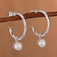 Cultured pearl dangle earrings, 'Royal Hoops' - Cultured Pearl Half-Hoop Dangle Earrings from Peru