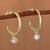 Gold plated sterling silver dangle earrings, 'Royal Hoops in White' - Gold Plated Sterling Silver Dangle Earrings in White (image 2) thumbail